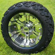 "12"" VAMPIRE Gunmetal Aluminum Wheels and 20x10-12"" DOT All Terrain Tires Combo - Set of 4"