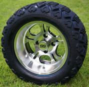 "12"" LIGHTSIDE Machined Aluminum Wheels and 20x10-12"" DOT All Terrain Tires Combo - Set of 4"