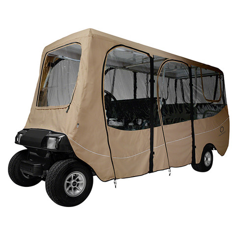"""Deluxe Driveable 6-passenger Golf Cart Enclosure - TAN (up to 124"""" tops)"""