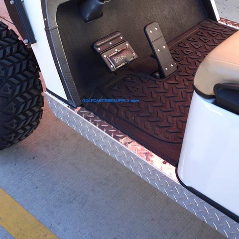 EZGO TXT Golf Cart Rocker Panels - Polished Aluminum Diamond Plate