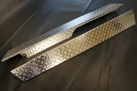 Club Car Precedent Golf Cart Rocker Panels - Polished Aluminum Diamond Plate