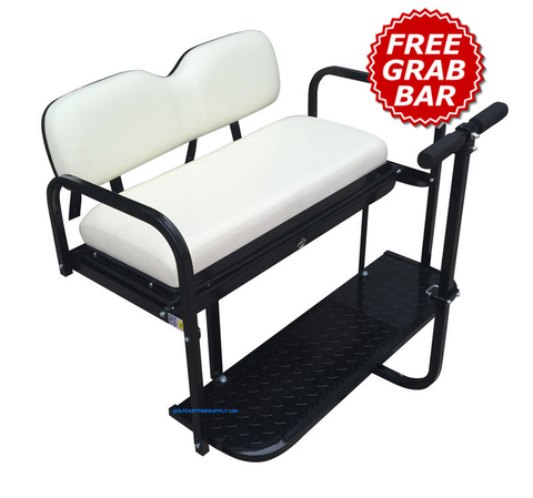 Club Car Precedent Golf Cart Rear Seat Kit - WHITE (Flip Seat w/ Cargo Bed & Free Grab Bar)