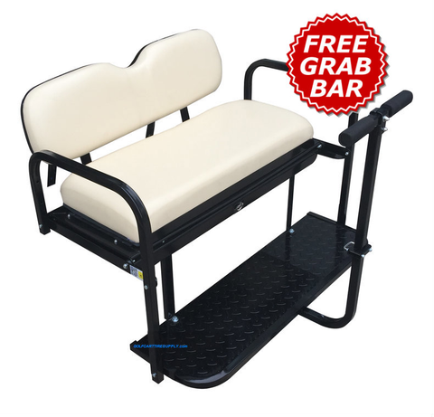 Club Car Precedent Golf Cart Rear Seat Kit w/ Cargo Bed & Free Grab Bar - BUFF