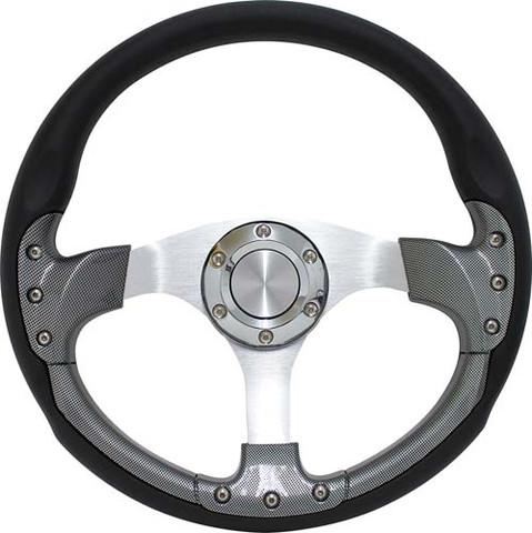 "Club Car DS 14"" Carbon Fiber & Aluminum Golf Cart Steering Wheel Kit"