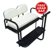 EZGO TXT / Medalist / PDS Golf Cart Rear Seat Kit - Pure WHITE (Flip Seat w/ Cargo Bed & FREE Grab Bar)