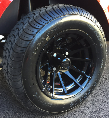 "12"" BLACK VENOM Golf Cart Wheels and 215/50-12"" DOT Street Golf Cart Tires"