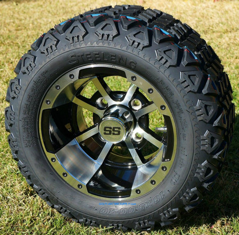 "10"" STORM TROOPER Golf Cart Wheels and 18x9-10 DOT All Terrain Golf Cart Tires Combo"