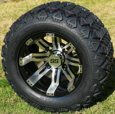 "Add a Product - 10"" TEMPEST Golf Cart Wheels and 18x9-10 DOT All Terrain Golf Cart Tires Combo"