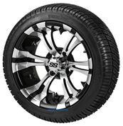 "14"" VAMPIRE Machined/ Black Aluminum Wheels and 205/30-14 DOT Street Tires Combo - Set of 4"