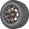 "12"" Madjax ILLUSION Wheels and 23"" All Terrain Golf Cart Tires Combo - Set of 4 - ORANGE"