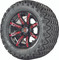 "12"" Madjax ILLUSION Wheels and 23"" All Terrain Golf Cart Tires Combo - Set of 4 - RED"