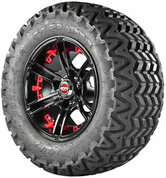 "Madjax MIRAGE Wheels and 23"" All Terrain Golf Cart Tires Combo - Set of 4 - RED"