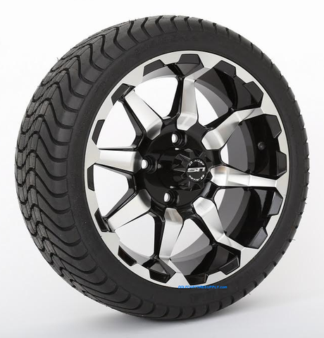 """14"""" STI HD6 Machined/ Black Wheels and 215/35-14 ComfortRide DOT Tires Combo - Set of 4"""