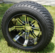 """12"""" TEMPEST Machined / Black Wheels and 215/50-12 ComfortRide DOT Tires"""