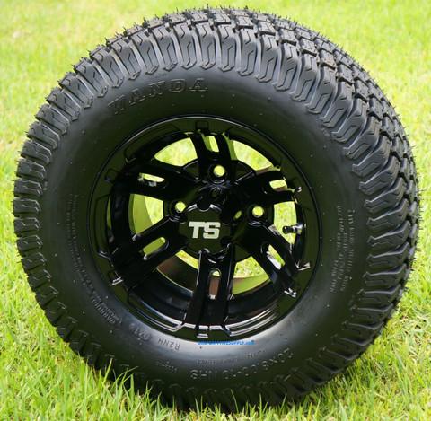 "10"" BULLDOG Black Wheels and 20x8-10"" TURF Tires Combo"