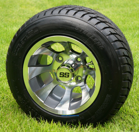 "10"" REVOLVER Gunmetal Machined Aluminum Wheels and 205/50-10"" DOT Tires Combo"