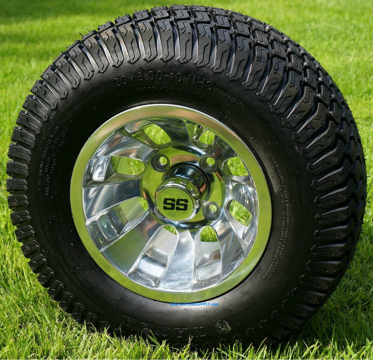 10 Inch Wheels For Golf Cart : Quot silver bullet polished golf cart wheels and
