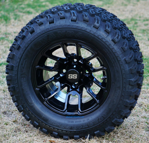 "12"" BLACK LIZARD Aluminum Wheels and 23x10.5-12"" All Terrain Tires Combo"