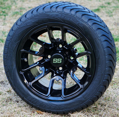 "12"" BLACK LIZARD Aluminum Wheels and StreetProfile 215/40-12 DOT Tires"
