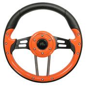 "Club Car DS 13"" Aviator-4 Orange Grip Golf Cart Steering Wheel w/ Black Spokes"