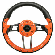 "EZ-GO 13"" Aviator-4 Orange Grip Golf Cart Steering Wheel w/ Black Spokes"
