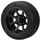 "12"" TREMOR Matte Black Wheels and Low Profile 215/35-12 DOT Tires"