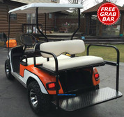 EZGO TXT/ Medalist / PDS Golf Cart Rear Seat Kit - OFF WHITE (matches factory) - Flip Seat w/ Cargo Bed & FREE Grab Bar
