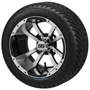 "12"" STORM TROOPER Machined/Black Wheels and 215/35-12"" ELITE DOT Tires - Set of 4"