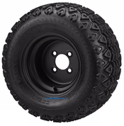 "10"" Solid BLACK Steel Wheels and 20x10-10"" All Terrain Tires Combo"