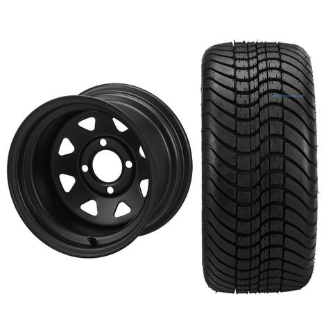 """12"""" Black Steel Window Wheels and 215/35-12 Low Profile DOT Tires Combo - Set of 4"""