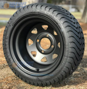 """12"""" Black Steel Window Wheels and 215/35-12 Low Profile DOT Tires Combo"""
