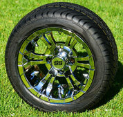 """12"""" VAMPIRE Chrome Wheels and Low Profile Tires Combo"""