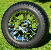 "12"" VAMPIRE Chrome Wheels and StreetRide 215/50-12 Tires"