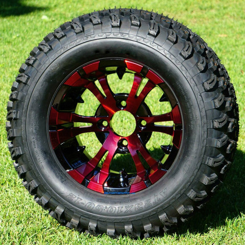 """12"""" VAMPIRE Red / Black Wheels and 23"""" All Terrain Tires Combo"""