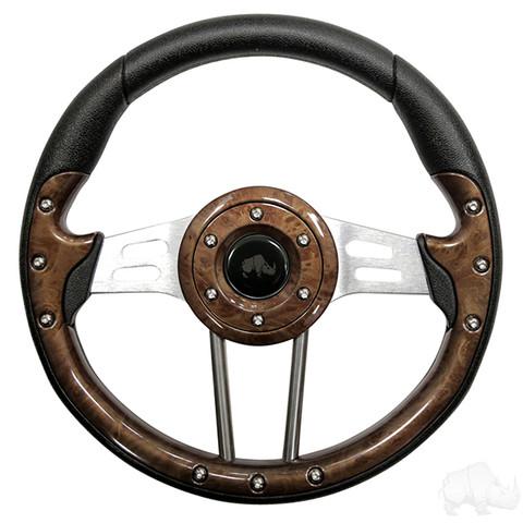 "EZGO 13"" Aviator-4 Wood Grain Steering Wheel w/ Aluminum Spokes"