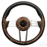 "Yamaha 13"" Aviator4 Wood Grain Golf Cart Steering Wheel w/ Aluminum Spokes"