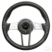 "EZGO 13"" Aviator-4 Carbon Fiber Steering Wheel w/ Aluminum Spokes"