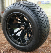 "12"" BLACKJACK Golf Cart Wheels and 215/50-12"" ComfortRide DOT Golf Cart Tires"