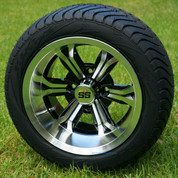 """12"""" TRANSFORMER Machined Wheels and 215/50-12 ComfortRide DOT Golf Cart Tires"""
