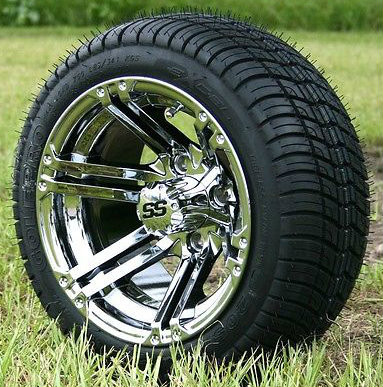 "12"" TERMINATOR Chrome and 215/40-12 DOT Tires combo"