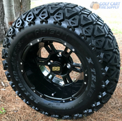 "12"" RUCKUS Gloss BLACK Wheels and 23x10.5-12"" DOT All Terrain Tires Combo"