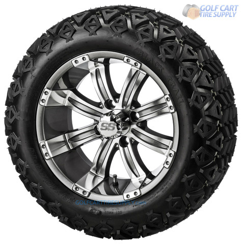 "14"" TEMPEST Gunmetal Wheels and 23"" All Terrain Tires Combo"
