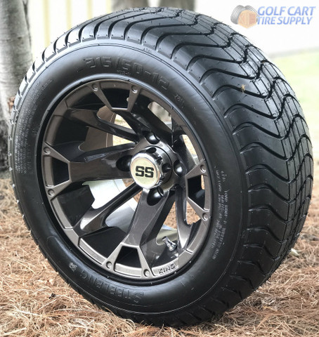 "12"" BLACKJACK Metallic Bronze Golf Cart Wheels and 215/50-12"" ComfortRide DOT Golf Cart Tires"