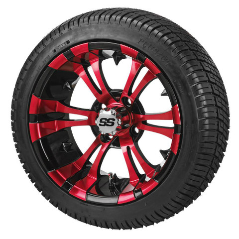 """12"""" VAMPIRE Red/Black Aluminum Wheels and Low Profile Tires Combo"""