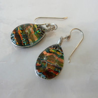 AUTUMN GOLD FUSED GLASS EARRINGS SET IN SILVER HANDMADE IN THE USA