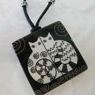 VIRGINIA MISKA CERAMIC JEWELRY Side-by- Side Cat Necklace