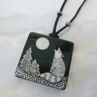 VIRGINIA MISKA CERAMIC JEWELRY Wolf & Moon Necklace