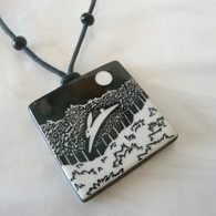 VIRGINIA MISKA CERAMIC JEWELRY Leaping Rabbit Necklace