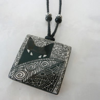 VIRGINIA MISKA CERAMIC JEWELRY Cat Behind Leaf Necklace