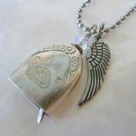 ANGEL PAW FUR-EVER BELL Swarovski  Rainbow Frost Crystal Angel Necklace 112
